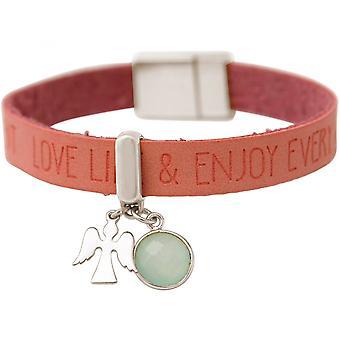 Damen - Armband - Schutz Engel - 925 Silber - WISHES - Rosa - Pink - Chalcedon - Meeresgrün - Magnetverschluss