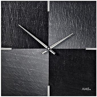 Wall clock quartz of slate natural slate with aluminium slate watch chess