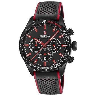 Festina Mens Chronograph Black Dial Black Leather Strap F20359/4 Watch