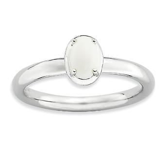2,25 mm plata puntas set rodio apilable expresiones ágata pulida anillo - tamaño del anillo: 5 a 10