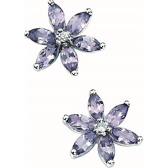 Elements Gold Kaleidoscope 9ct White Gold Tanzanite and Diamond Flower Earrings - Purple/White Gold