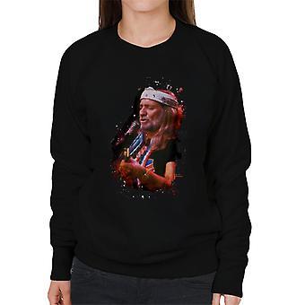 TV Times Willie Nelson Live Paint Splatter Women's Sweatshirt