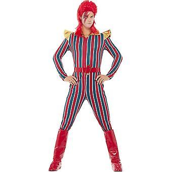 Plass Superstar drakt, multi farget, med kjeledress, belte & støvel dekker