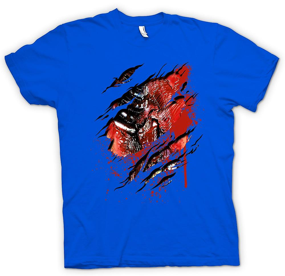 Mens T-shirt - Zombie Walking Dead Ribs And Heart Ripped Design