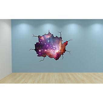 Full Colour Galaxy Cracked Wall Effect Wall Sticker