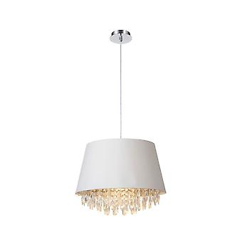 Lucide Dolti 45cm White Shade Pendant With Crystals