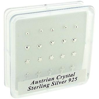 TOC Sterling Silver 20 Piece Assorted Design Nose Stud Set