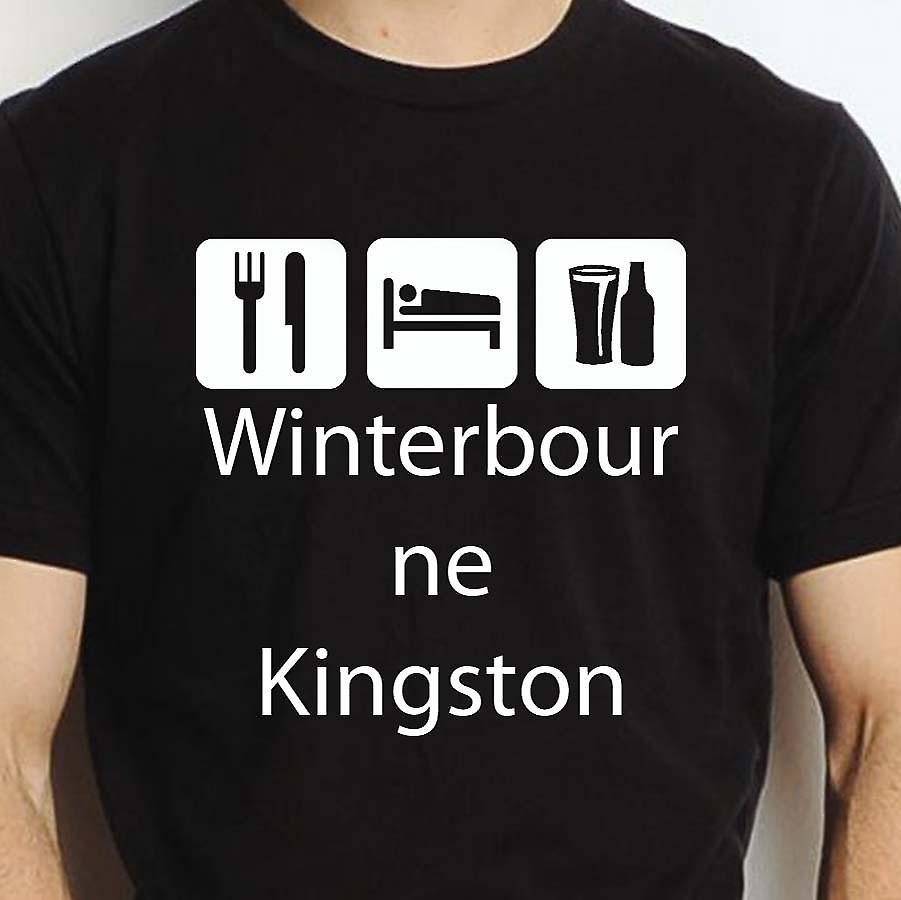 Eat Sleep Drink Winterbournekingston Black Hand Printed T shirt Winterbournekingston Town