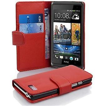 Cadorabo Hülle für HTC DESIRE 600 -Handyhülle aus strukturiertem Kunstleder mit Standfunktion und Kartenfach – Case Cover Schutzhülle Etui Tasche Book Klapp Style