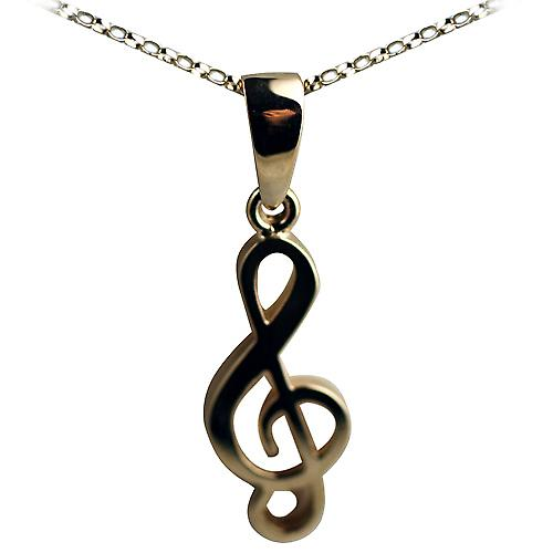 9ct Gold 27x11 G Clef Pendant with a belcher Chain 16 inches Only Suitable for Children