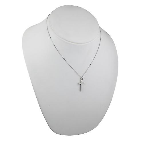 9ct white gold 25x15mm plain solid block Cross with a curb chain