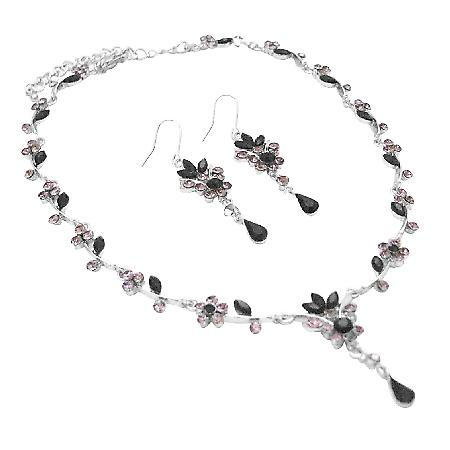 Spectrum Of Black & Black Diamond Crystals Victorian Bridal Jewelry