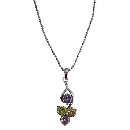 Sleek Dainty Jewelry Multicolor Crystals Pendant Young Girls Necklace