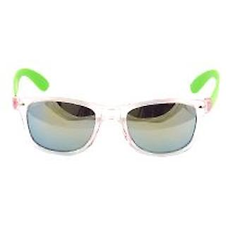 Clear Frame Wayfarer Style Glasses with Mirrored Lens and Green Arm