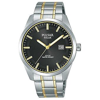 Pulsar Mens Solar Two Tone Stainless Steel Black Dial PX3169X1 Watch