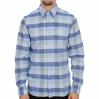 Fred Perry Men's Textured Gingham Long Sleeve Shirt - M8267-B60 - CLAY