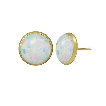 Eternal Collection Symphony White Opal Gold Pierced Stud Earrings