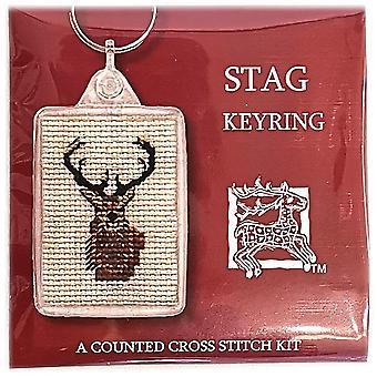 Textiel erfgoed geteld Cross Stitch keyring-Stag