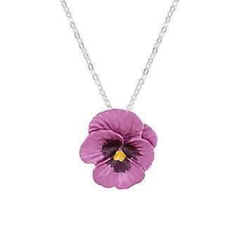 Ewige Sammlung Stiefmütterchen Perfektion rosa Emaille Silber Ton Blumenanhänger