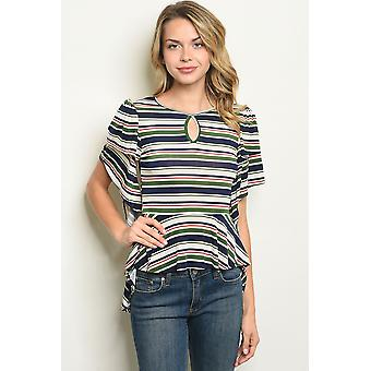 Navy green stripes top