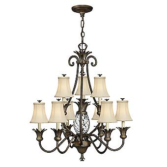 Plantation Traditional 10 Arm Chandelier with Ivory Silk Shades