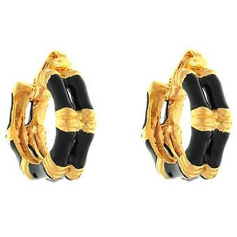 Kenneth Jay Lane Black Enamel & Gold Plated Bamboo Hoop Clip On Earrings
