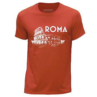 STUFF4 Men's Round Neck T-Shirt/Rome Landmark Sketch/Orange