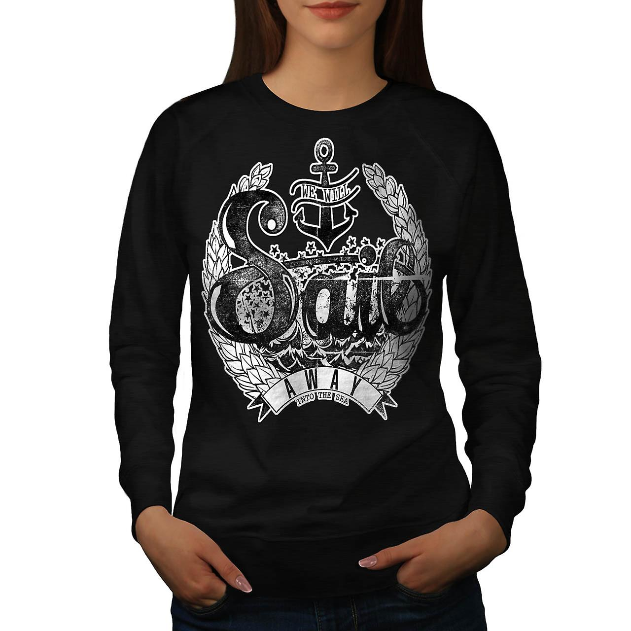 Sail Away Into Sea Boat Cruise Women Black Sweatshirt | Wellcoda