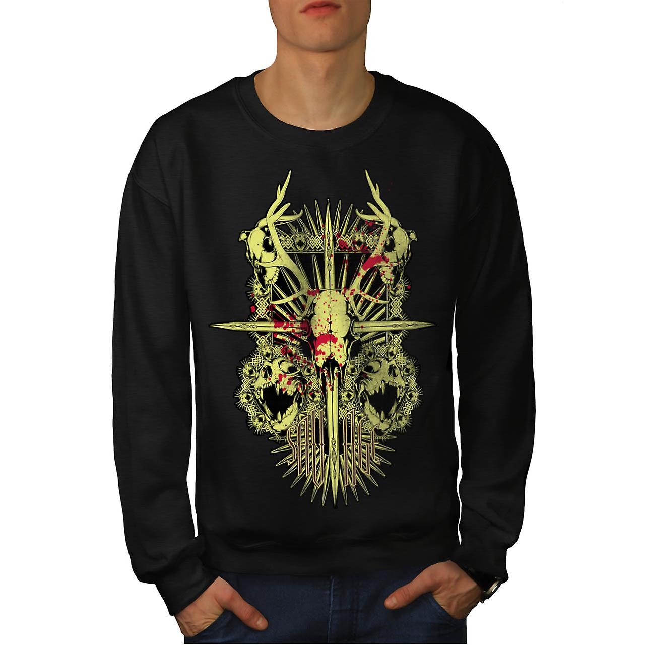 Monstre sauvage mort Demon Skull hommes Black Sweatshirt | Wellcoda