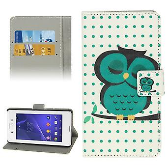Mobile case bag for mobile phone Sony Xperia E3 motif thick OWL on tree branch