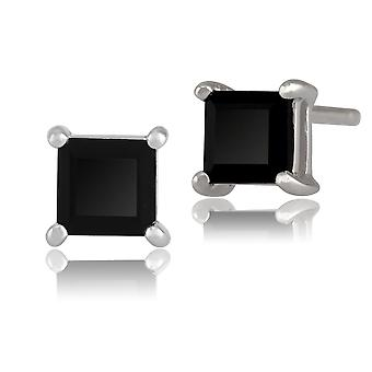 Gemondo 9ct White Gold 0.8ct Blue Sapphire 4 Claw Set Square Stud Earrings 4x4mm