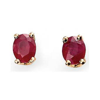 9Ct Gold Ruby And Diamond Earring
