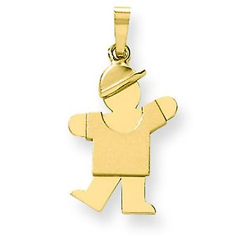 14k Gold Solid Engraveable Boy With Hat on Left Charm - 1.5 Grams