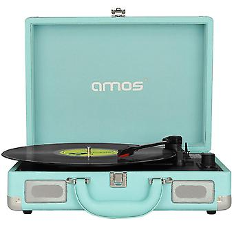 AMOS Suitcase Record Player (Sky Blue)