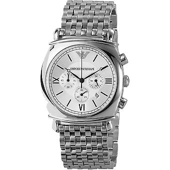 Emporio Armani AR0315 Silver Stainless Steel Strap White Dial Chronograph Watch