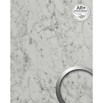 Wall Panel marble optics WallFace 19345 MARBLE WHITE decor Panel smooth stone look shiny adhesive abrasion resistant White grey white 2,6 m2