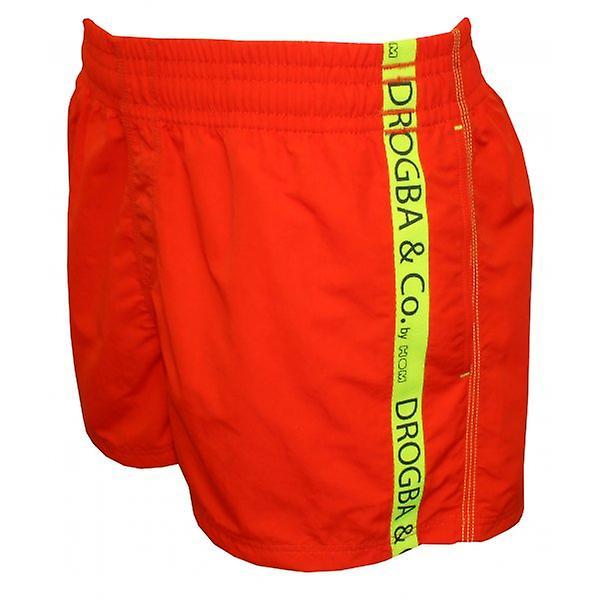 Drogba & Co. by HOM Didier Beach Boxer Swim Shorts, Burnt Orange