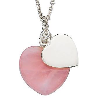 Corazones de moda plata 925 y collar de cuarzo rosa