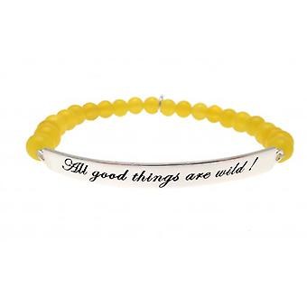 W.A.T 925 Sterling Silver 'All Good Things Are Wild' Yellow Jade Bead Qutoe Bracelet