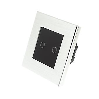 I LumoS Silver Brushed Aluminium 2 Gang 1 Way Touch LED Light Switch Black Insert