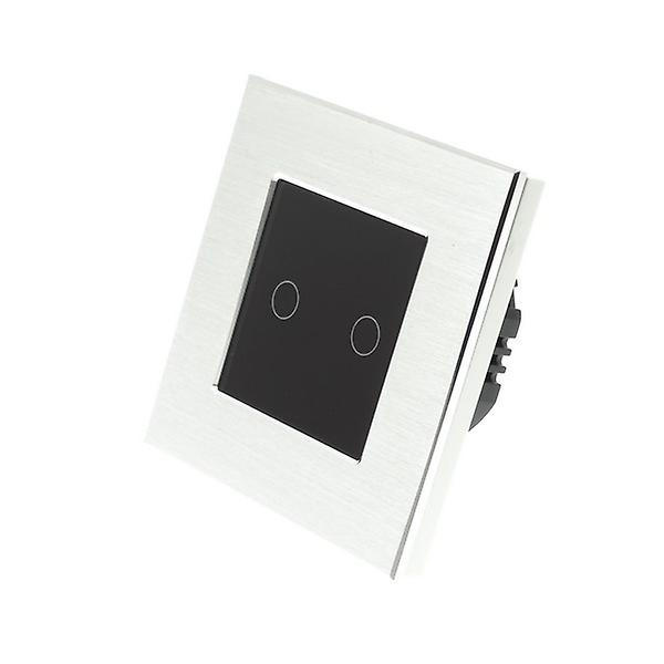 I LumoS argent Brushed Aluminium 2 Gang 1 Way Remote & Dimmer Touch LED lumière Switch noir Insert