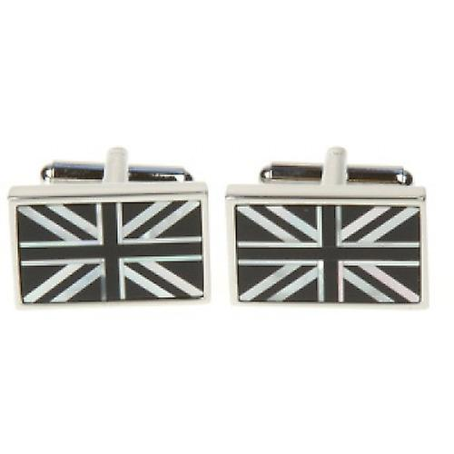 Simon Carter Onyx / MOP Union Jack Flag Cufflinks - Silver/Black
