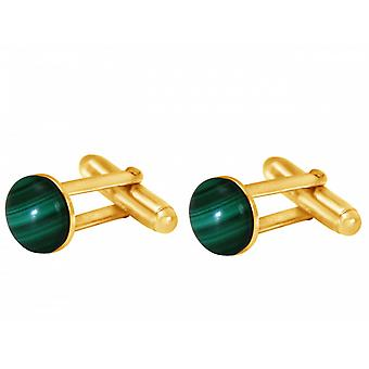 Men's cufflinks gold plated wedding green Malachite of cufflinks men's jewellery