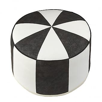 Cushion stool furniture footstool Pouffe black / white round faux leather