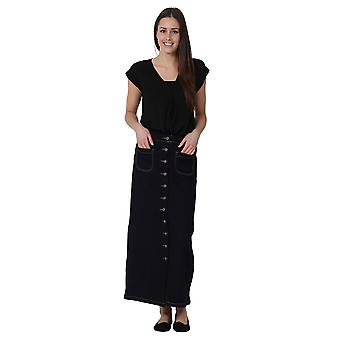 Long Indigo Denim Skirt Maxi Skirt Full Length Denim Skirt Button Front