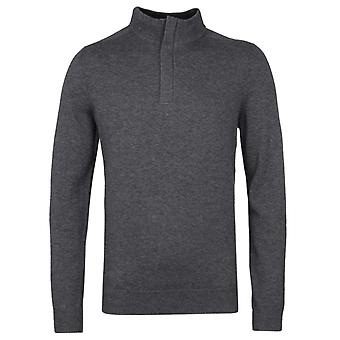 BOSS Mid Grey Marl Concealed-Zip Neck Sweater
