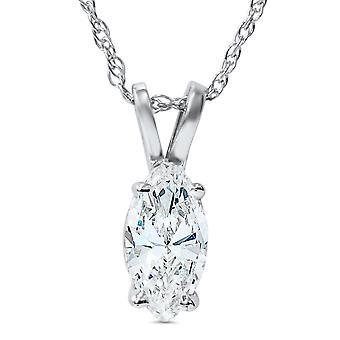 1ct Fancy Marquise diamant Solitaire hänge 14k vitt guld