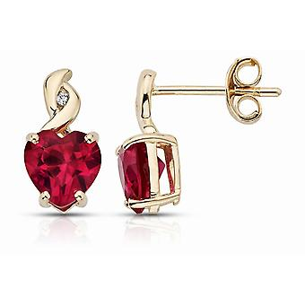 Affici Sterling Silver Earrings 18ct geelgoud verguld met hart geslepen Ruby CZ edelstenen