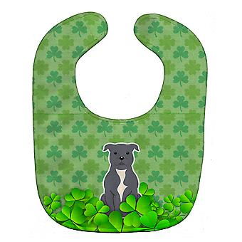 Staffordshire Bull Terrier Blue Shamrocks Baby Bib