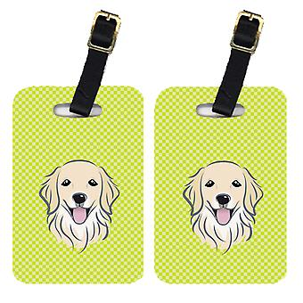 Pair of Checkerboard Lime Green Golden Retriever Luggage Tags
